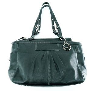 Coach Black East West Gallery Leather Tote Bag